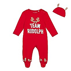 bluezoo - Babies' red 'Rudolph' sleepsuit and hat set
