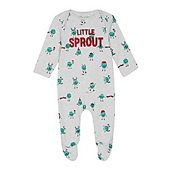 bluezoo - Babies' grey 'Little Sprout' print sleepsuit