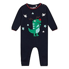 bluezoo - Baby boys' navy Christmas 'Dino' romper suit