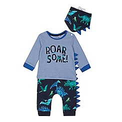 bluezoo - Babies' blue 'Roarsome' dinosaur print top, bottoms and bib set