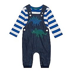 bluezoo - Babies' blue dinosaur embroidered dungarees and bodysuit set