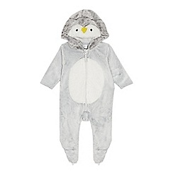 bluezoo - Babies grey penguin applique all-in-one