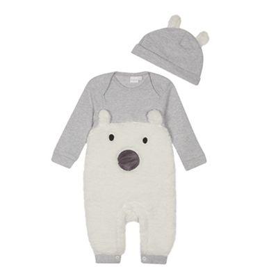 bluezoo Babies  grey bear applique romper suit  b66b375c9214