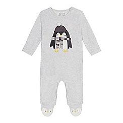 bluezoo - Babies' grey penguin applique sleepsuit