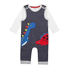bluezoo - 'Baby boys' navy dinosaur applique dungarees and bodysuit set