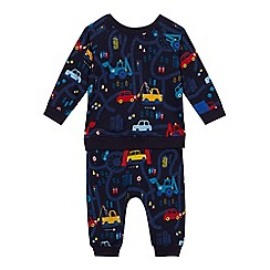 bluezoo - Baby boys' navy transport print sweatshirt and jogging bottoms set
