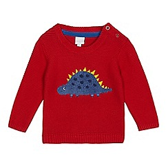 bluezoo - Baby boys' red dinosaur applique jumper
