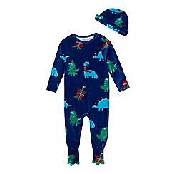 bluezoo - Babies' blue velour Christmas & dinosaur print sleepsuit and hat set