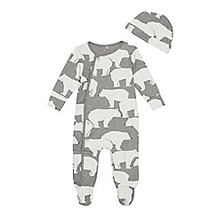 Mantaray - Babies' grey polar bear print sleepsuit with a hat