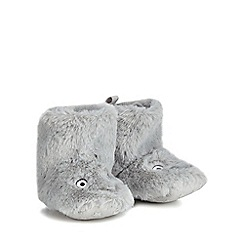 bluezoo - Babies' grey faux fur dinosaur bootie slippers