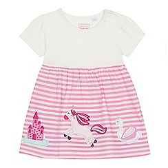 bluezoo - 'Baby girls' pink striped applique dress