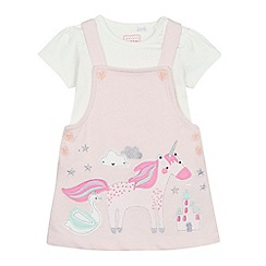 bluezoo - Baby girls' pink unicorn applique pinafore and top set