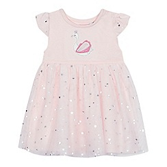 bluezoo - 'Baby girls' pink swan applique dress