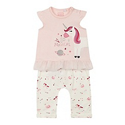 bluezoo - Baby girls' pink unicorn embroidered top and bottoms set