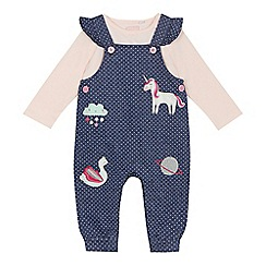bluezoo - Baby girls' navy spotted dungarees and pink long sleeve top set