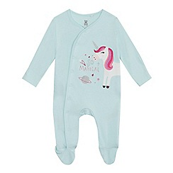 bluezoo - Baby girls' light green unicorn applique cotton long sleeve sleepsuit