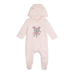 bluezoo - Baby girls' pink mouse applique snugglesuit