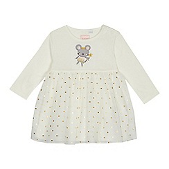 bluezoo - Baby girls' off white mouse applique jersey dress
