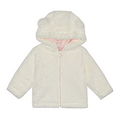 bluezoo - Baby girls' while faux fur ear applique jacket