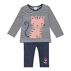bluezoo - 'Baby girls' blue cat applique top and jeggings set