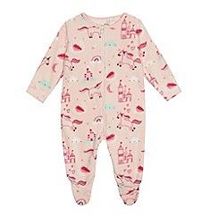 bluezoo - 'Baby girls' pink unicorn print fleece sleepsuit