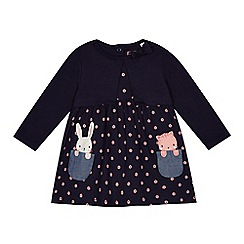 bluezoo - 'Baby girls' navy spotted mock dress