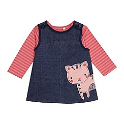 bluezoo - Baby girls' pink striped top and navy cat applique pinafore set