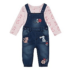 bluezoo - Baby girls' blue denim dungarees and pink bunny top set