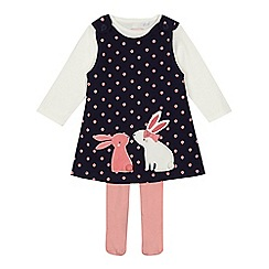 bluezoo - Baby girls' navy bunny applique pinafore cream top and pink tights set