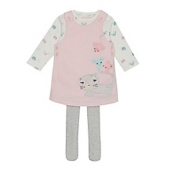 bluezoo - Baby girls' pink cat applique pinafore, top and tights set