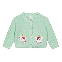 bluezoo - Baby girls' aqua unicorn cardigan