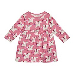 bluezoo - Baby girls' pink unicorn print dress