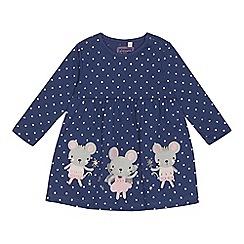 bluezoo - 'Baby girls' blue spot print mouse applique dress
