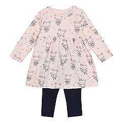 bluezoo - Baby girls' pink mouse print top and leggings set