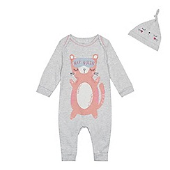 bluezoo - Baby girls' grey cat print sleepsuit and hat set