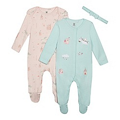 bluezoo - '2 pack baby girls' light green and pink unicorn sleepsuits