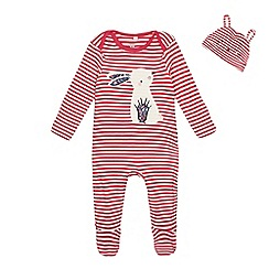 bluezoo - 'Baby girls' pink striped sleepsuit and hat