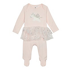 bluezoo - 'Baby girls' pink unicorn applique tutu sleepsuit