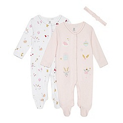 bluezoo - 2 pack babies' pink and white applique sleepsuits