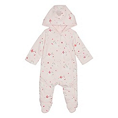 bluezoo - Baby girls' pink unicorn print snugglesuit