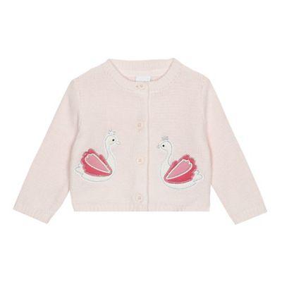 5716c9117 bluezoo Baby girls  pink swan applique cardigan