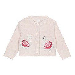 bluezoo - Baby girls' pink swan applique cardigan
