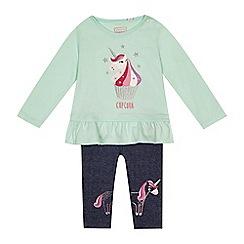 bluezoo - 'Baby girls' aqua unicorn applique tunic and jeggings set
