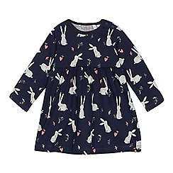 bluezoo - 'Baby girls' navy bunny print dress