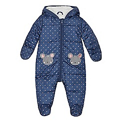 bluezoo - Babies' navy mouse applique padded snowsuit