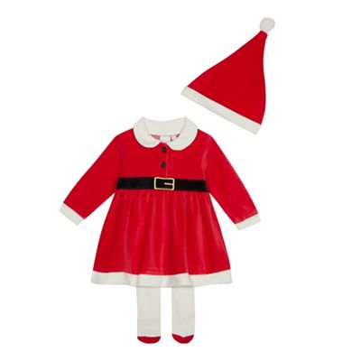 f6d80e30b3c9 bluezoo Baby girls  red  Mrs Claus  dress set with hat and tights ...