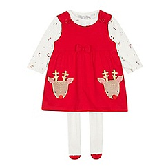 bluezoo - Babies' red reindeer pinny and top set