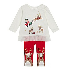 bluezoo - Baby girls' reindeer applique top and leggings set
