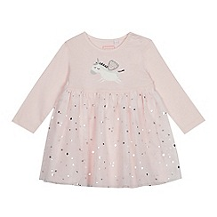 bluezoo - Baby girls' pink unicorn print mesh dress