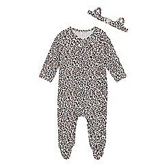 bluezoo - Babies' brown animal print velour sleepsuit and headband